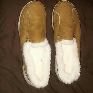 Danskin fur brown suede slip on shoes